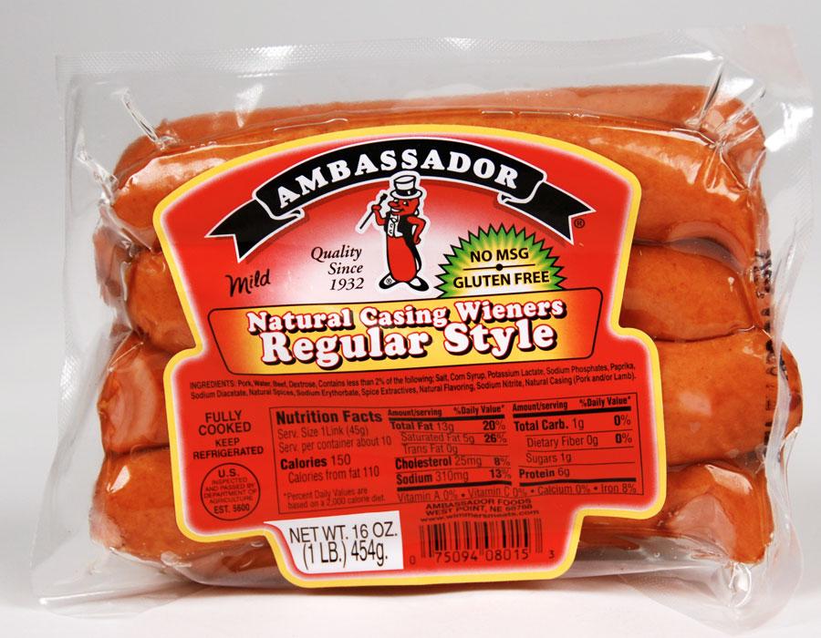 Ambassador Natural Casings Hot Dogs